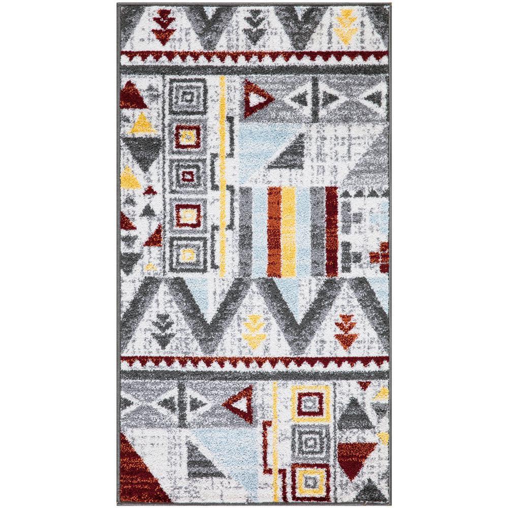 Lnc Weasley Moroccan Gray Brick Red 2 Ft X 4 Ft Indoor