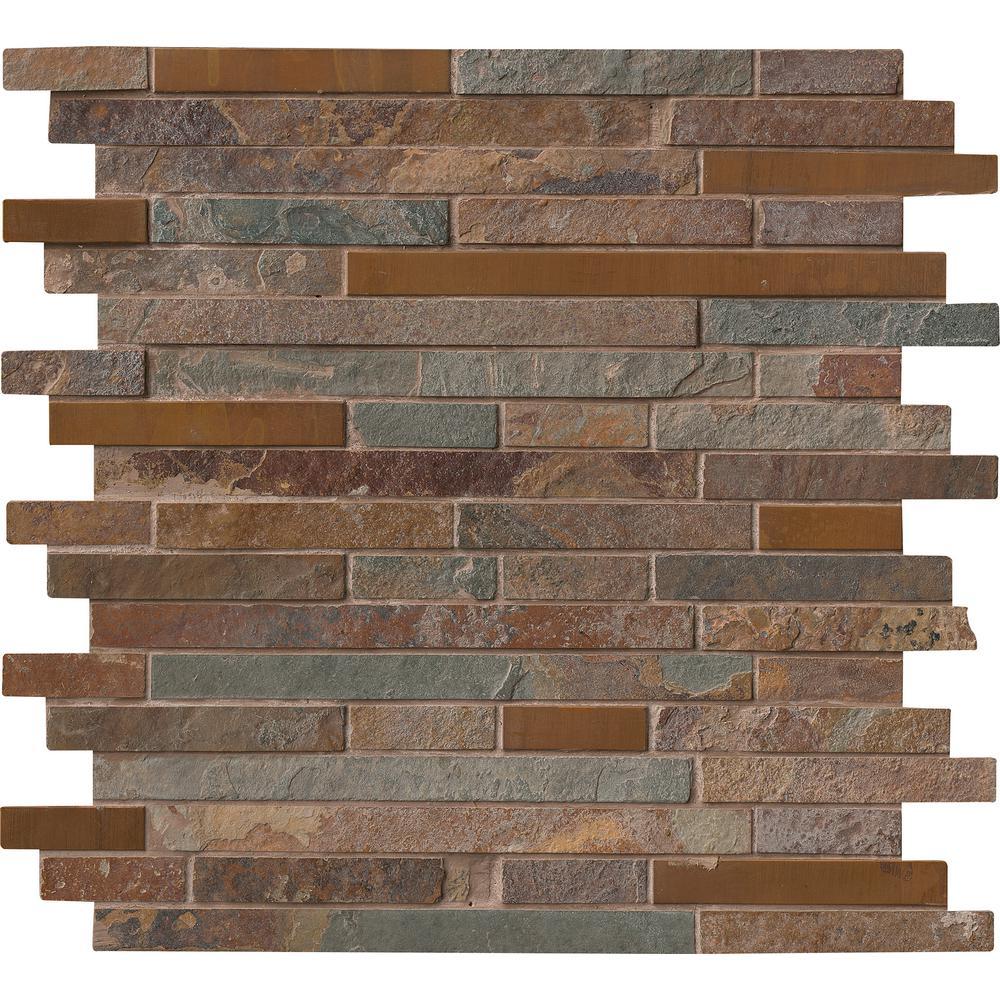 Rustic Creek Interlocking 12 in. x 12 in. x 8 mm Metal and Stone Mesh-Mounted Mosaic Tile