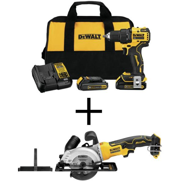 ATOMIC 20-Volt MAX Cordless Brushless Compact 1/2 in. Drill/Driver, (2) 20-Volt 1.3Ah Batteries & 4-1/2 in. Circular Saw