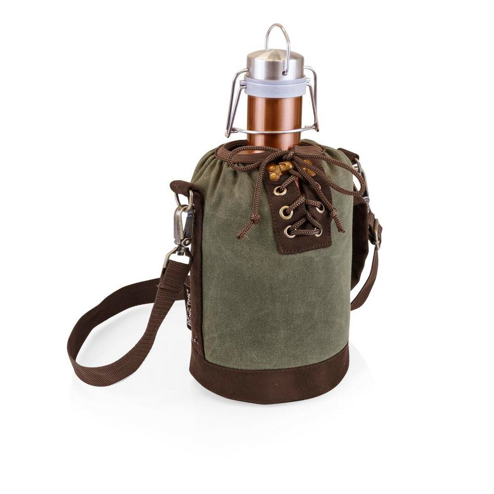 Khaki Green and Brown Insulated Growler Tote with 64 oz. Copper
