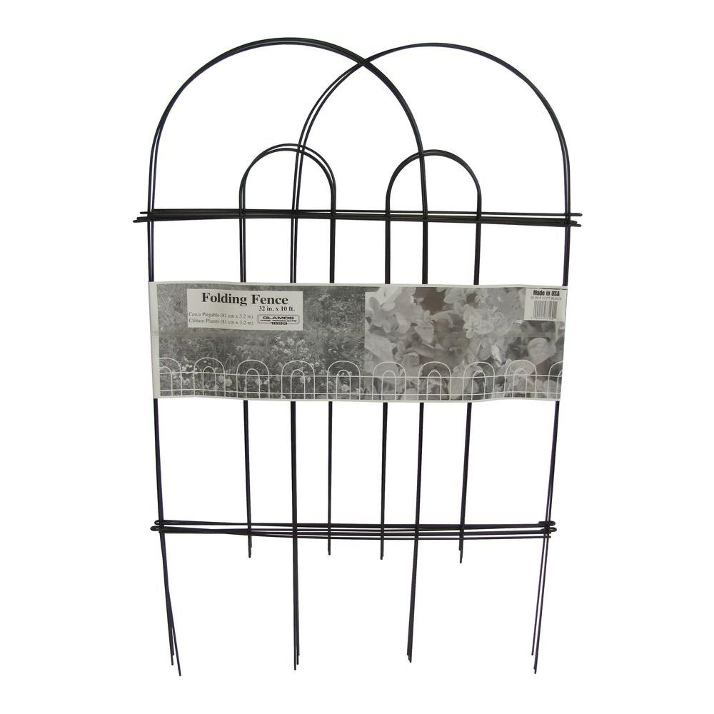 glamos wire products 32 in  x 10 ft  galvanized steel black folding garden fence  10