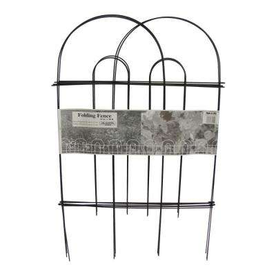 32 in. x 10 ft. Galvanized Steel Black Folding Garden Fence (10-Pack)