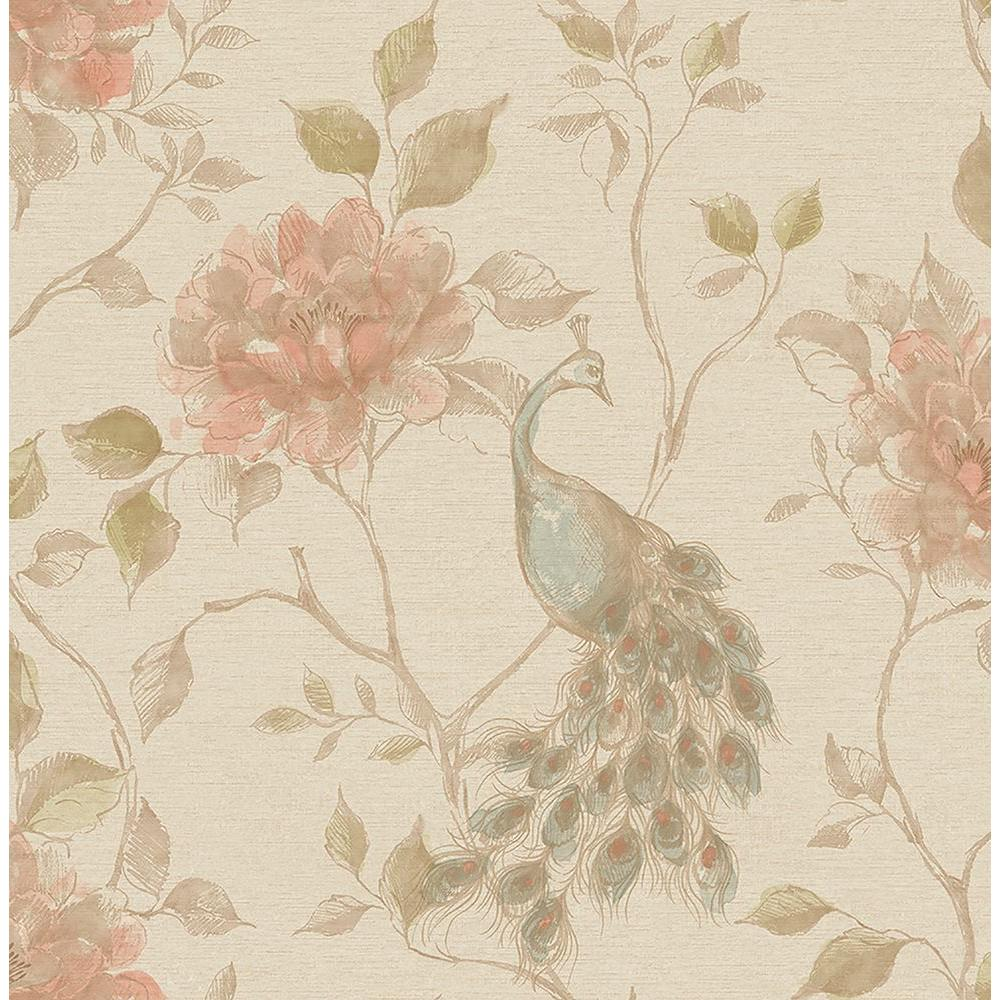 Dynasty Taupe Peacock Wallpaper, Grey
