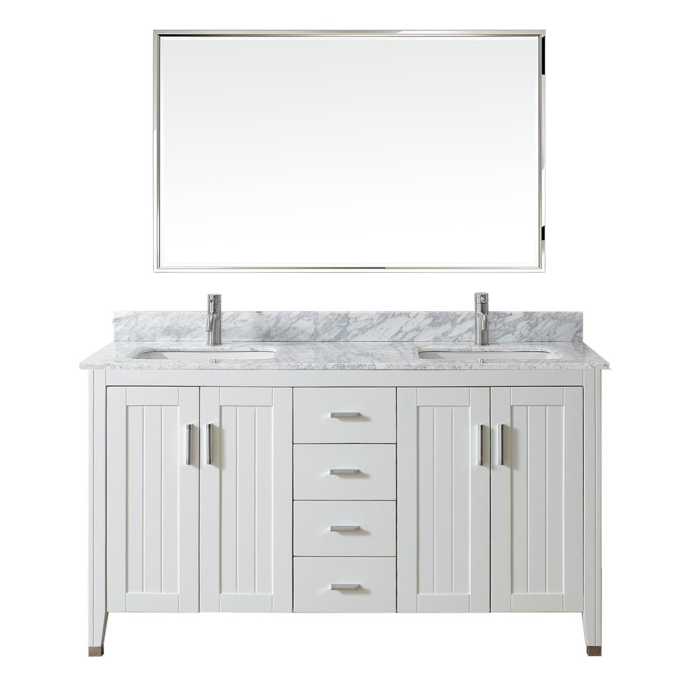 Studio Bathe Jackie 60 in. Vanity in White with Marble Vanity Top in Carrara White and Mirror