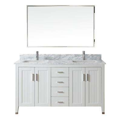 Jackie 60 in. Vanity in White with Marble Vanity Top in Carrara White and Mirror