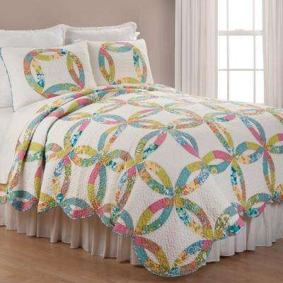 White Emma's Wedding Ring Twin Quilt Set