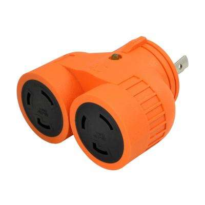 Generator 1 to 2 V Outlet Adapter L5-30P 30  Amp 3-Prong Loking Plug to (2) L5-30R  Locking Female