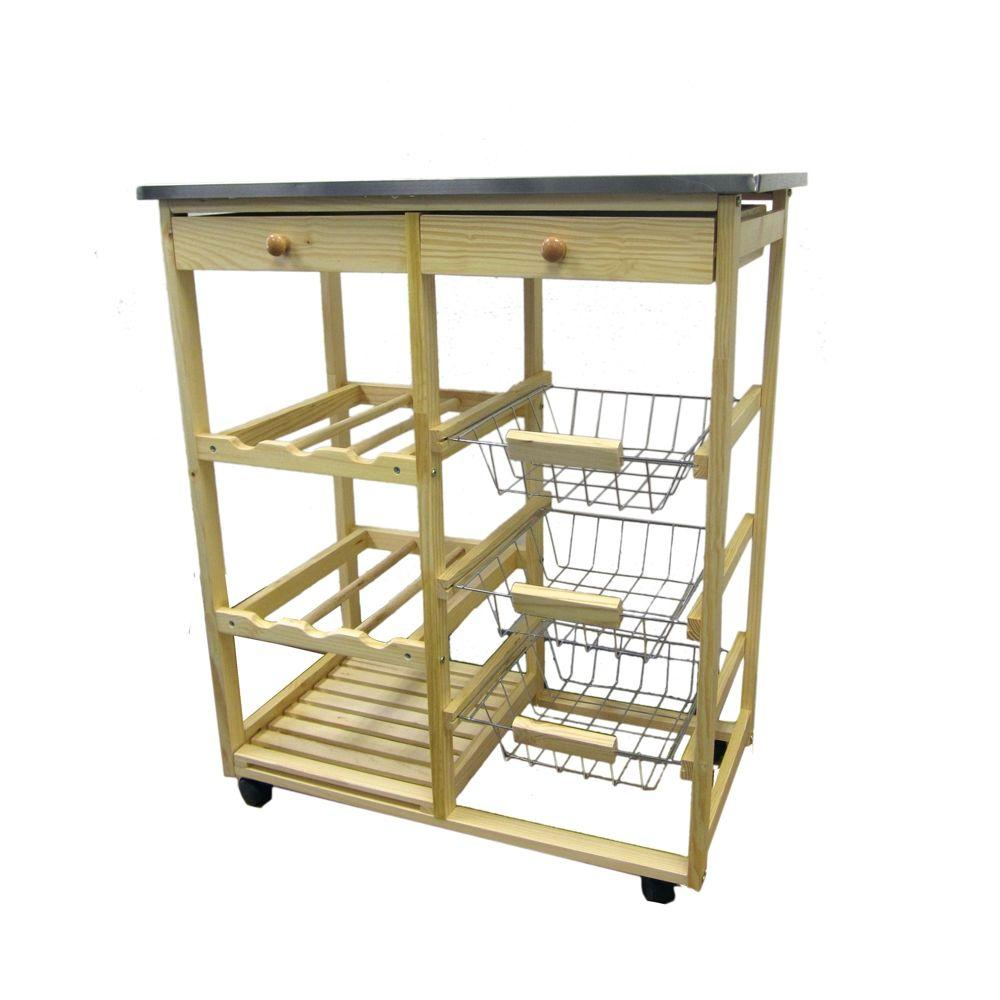 Home Decorators Collection Natural Kitchen Cart With Storage