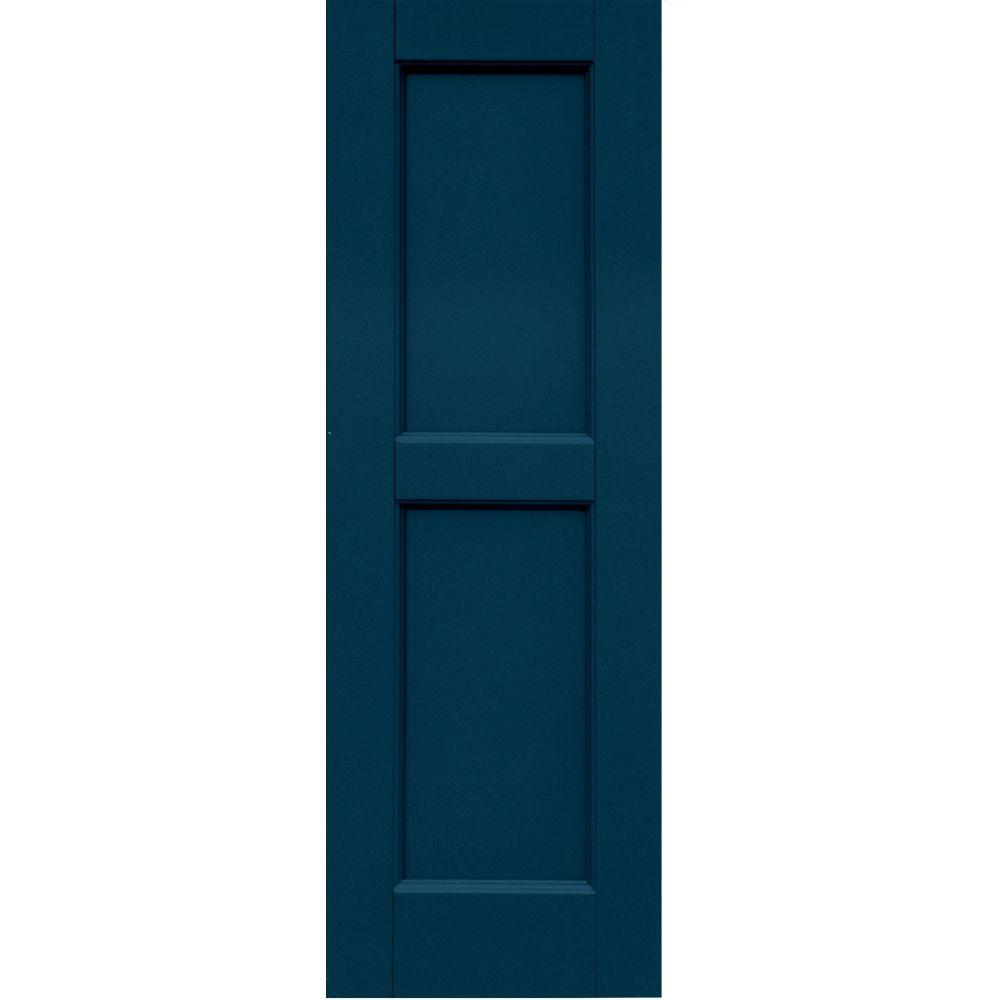 Winworks Wood Composite 12 in. x 36 in. Contemporary Flat Panel Shutters Pair #637 Deep Sea Blue