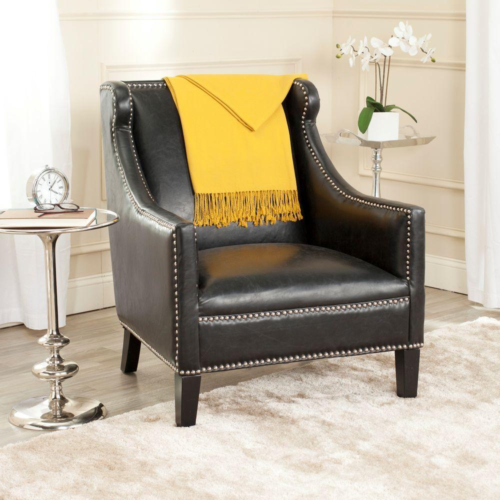 McKinley Antique Black Leather Club Arm Chair