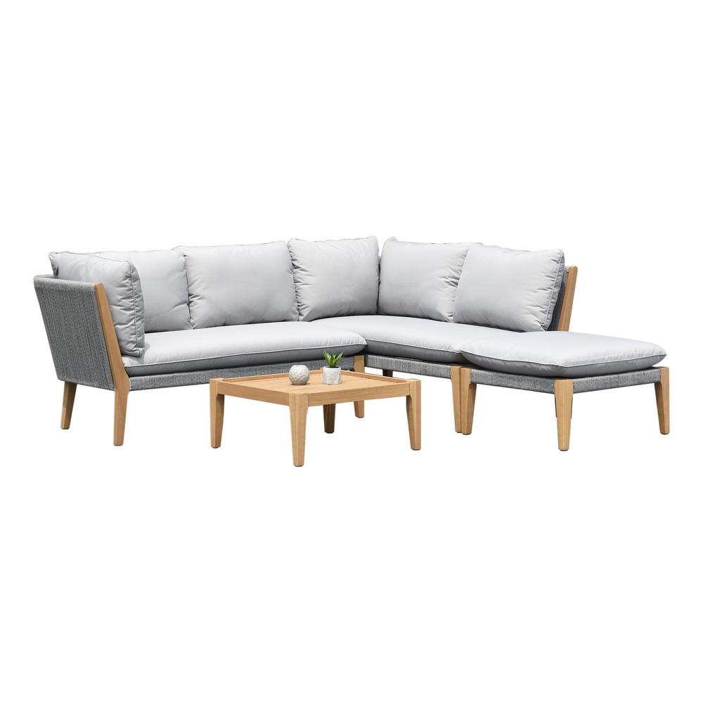 Amazonia Lucia Teak Finish 4-Piece Wood Patio Conversation Set with Gray Cushions