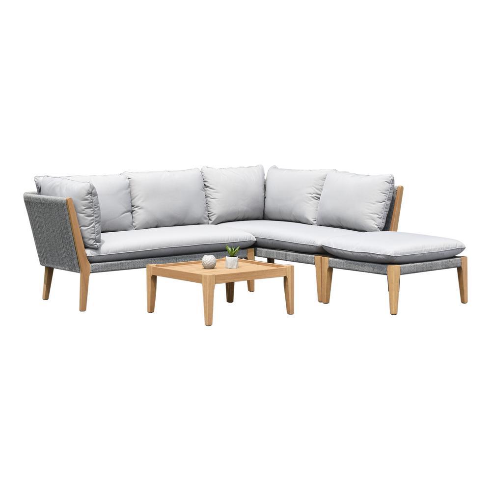 Lucia Teak Finish 4-Piece Wood Patio Conversation Set with Gray Cushions