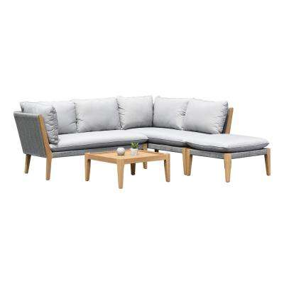 Lucia Teak Finish 4-Piece Wood Patio Conversation Set with Gray Cushions