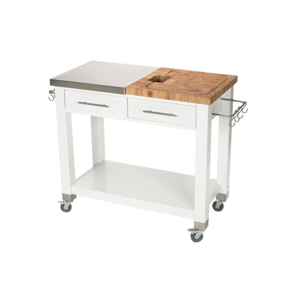 Attirant Chris U0026 Chris Chef Stainless Steel Kitchen Cart With Chop U0026 Drop System