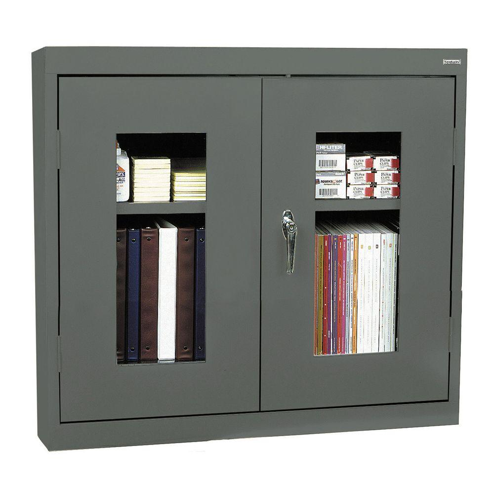 Sandusky 26 in. H x 30 in. W x 12 in. D Clear View Wall Cabinet in Charcoal
