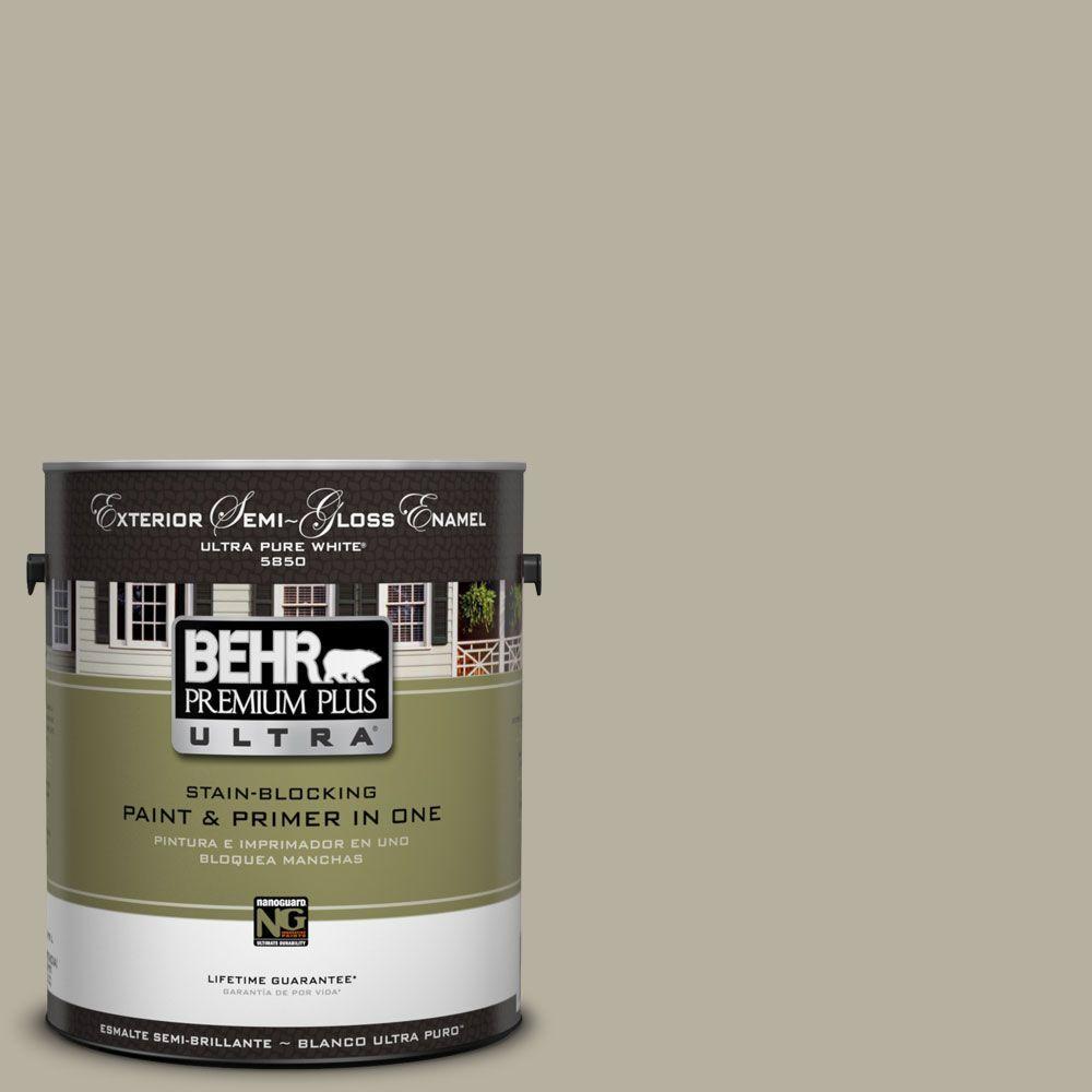 BEHR Premium Plus Ultra 1-Gal. #UL190-7 Saturn Gray Semi-Gloss Enamel Exterior Paint