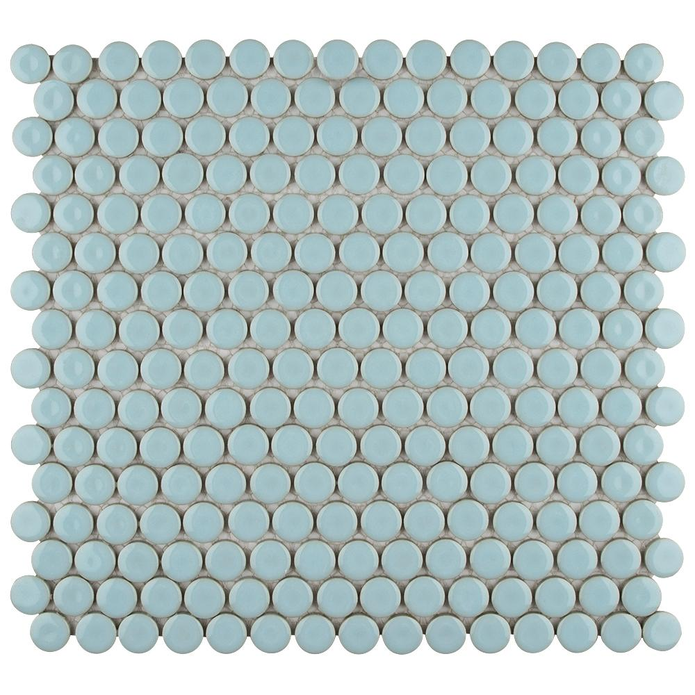 Hudson Penny Round Cashmere Blue 12 in. x 12-5/8 in. x