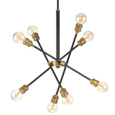 Landrum 8-Light Black with Vintage Brass Accents Chandelier
