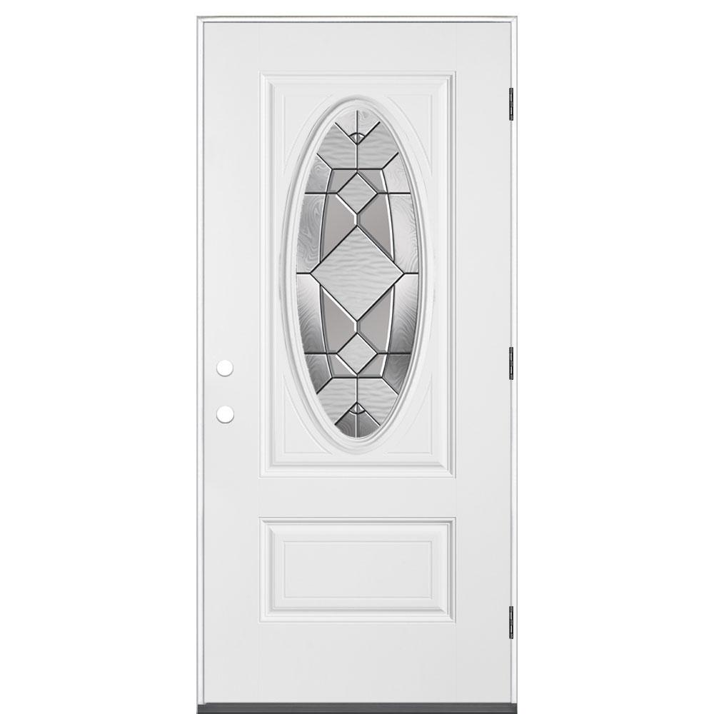 Kingston 3/4 Oval Lite Left Hand Primed Smooth Impact Fiberglass Prehung Front Door No Brickmold-74329 - The Home Depot  sc 1 st  Home Depot & Masonite 36 in. x 80 in. Kingston 3/4 Oval Lite Left Hand Primed ...