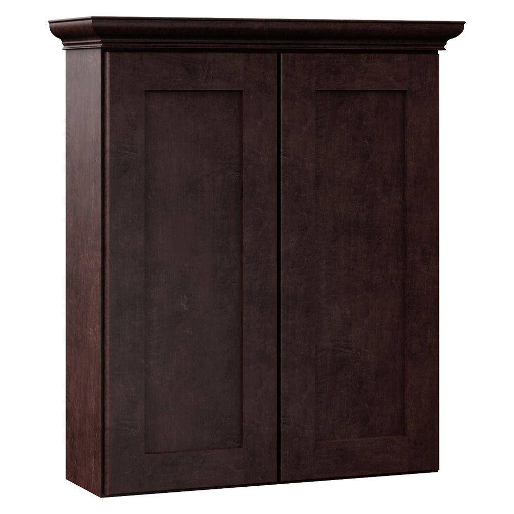 MasterBath Stirling 24 in. W x 28-1/2 in. H x 7-1/4 in. D Bathroom Storage Wall Cabinet in Java