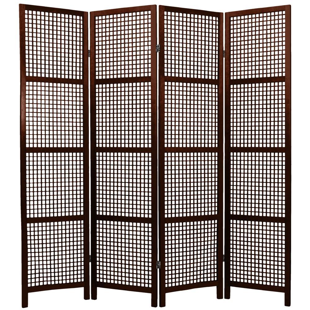 6 ft. Walnut 4-Panel Room Divider
