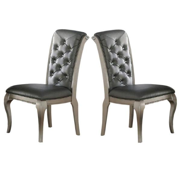 Gray and Silver with Tufted Back Rubber Wood Dining Chair (Set of 2)