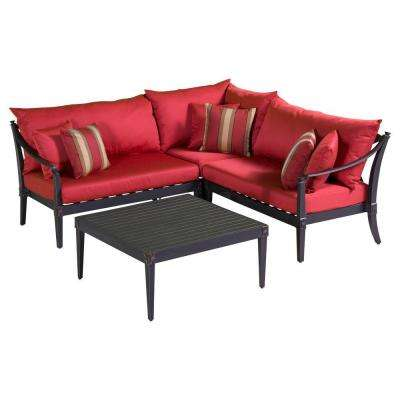 Astoria 4-Piece Patio Corner Sectional and Conversation Table Set with Cantina Red Cushions