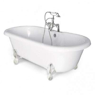 70 in. AcraStone Acrylic Double Clawfoot Non-Whirlpool Bathtub with Large Ball in Claw Feet in White in Faucet in Chrome