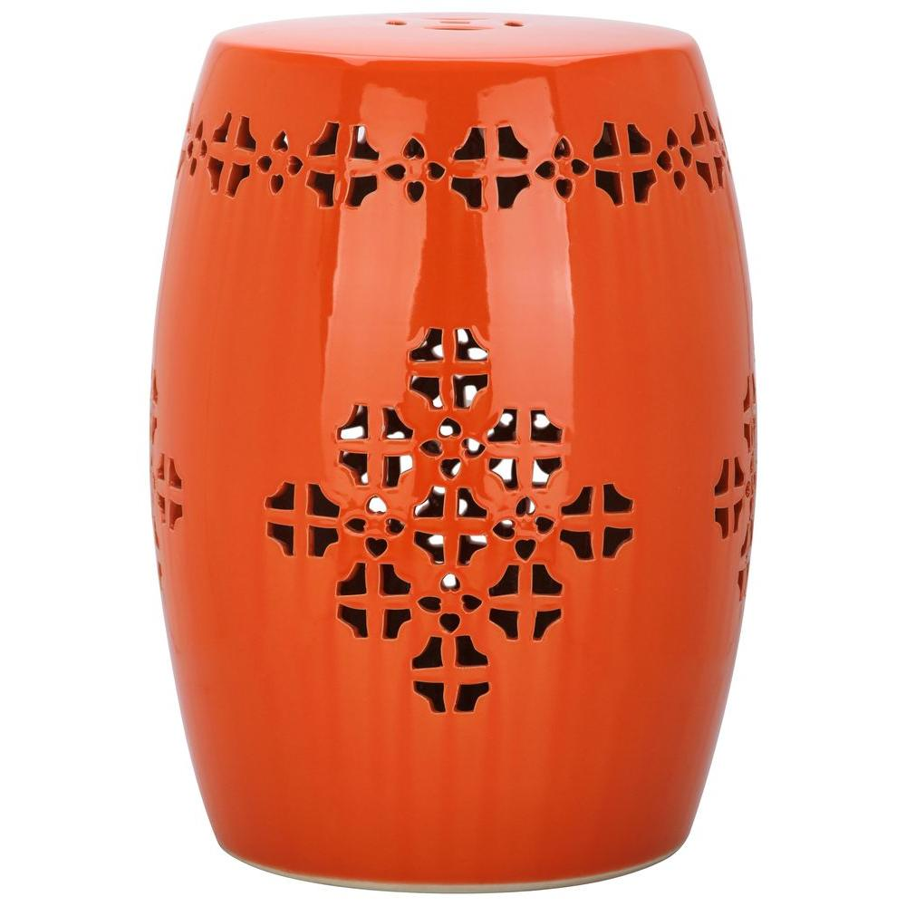 Safavieh Quatrefoil Orange Patio Stool Acs4535d The Home