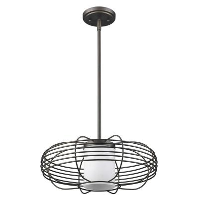 Loft 1-Light Oil-Rubbed Bronze Wire Globe Pendant with Etched Glass Interior Shade