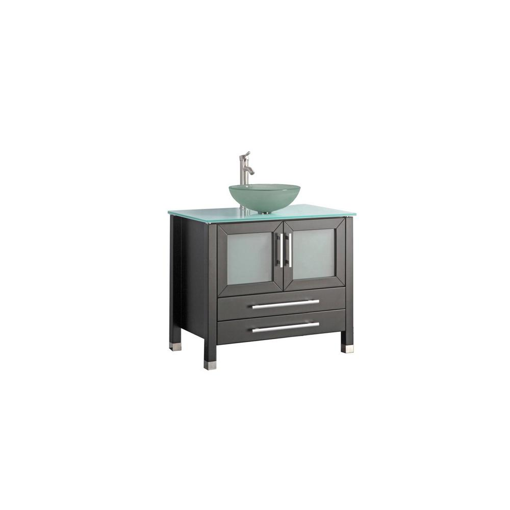 MTD Vanities Caen 36 in. W x 20 in. D x 36 in. H Vanity in Espresso with Aqua Tempered Glass Vanity Top with Frosted Glass Basin
