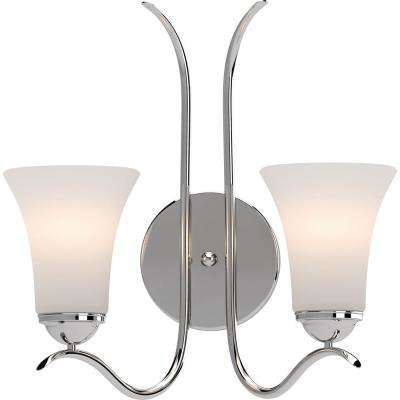 Alesia 2-Light 5.5 in. Polished Nickel Indoor Vanity Wall Sconce or Wall Mount with Frosted Glass Bell Shades