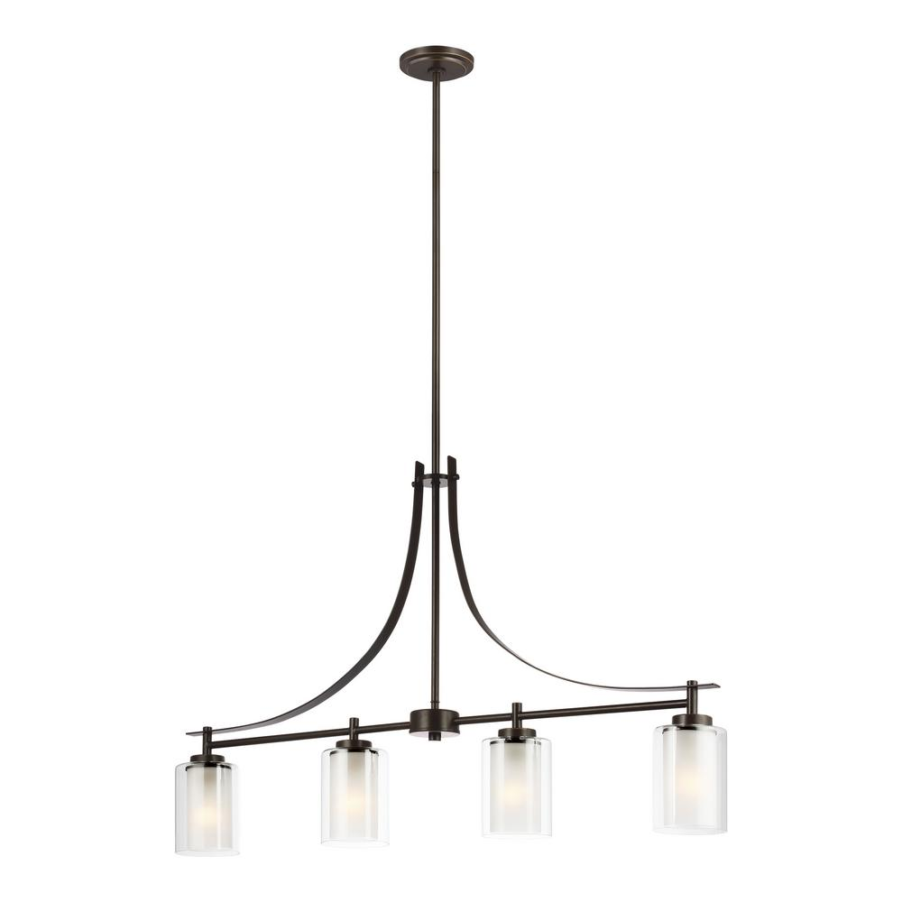 Sea Gull Lighting Elmwood Park 4-Light Heirloom Bronze Island Pendant with Satin Etched Glass Shades with LED Bulbs