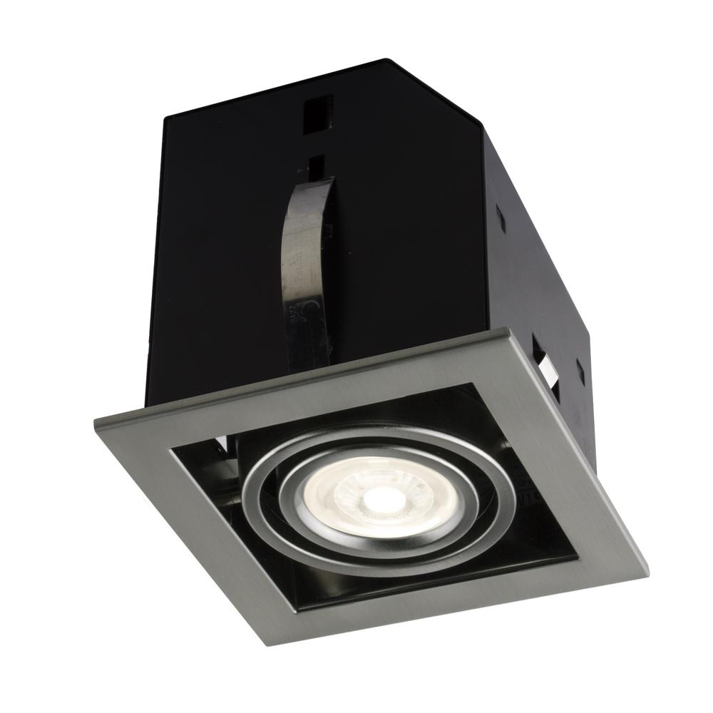 4.5 in. Single Cube Brushed Chrome Recessed LED Lighting Kit with