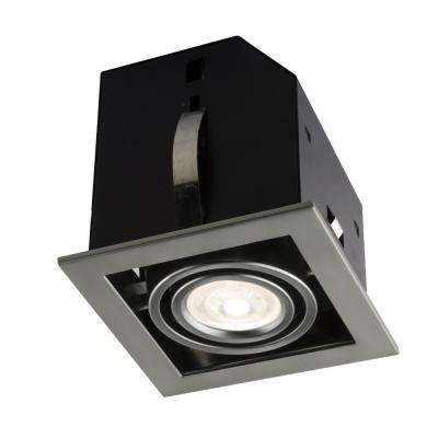 4.5 in. Single Cube Brushed Chrome Recessed LED Lighting Kit with GU10 Bulb Included