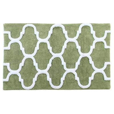 Cotton 34 in. x 21 in. Latex Spray Non-Skid Backing Sage Green/White Color Geometric Pattern Machine Washable Bath Rug