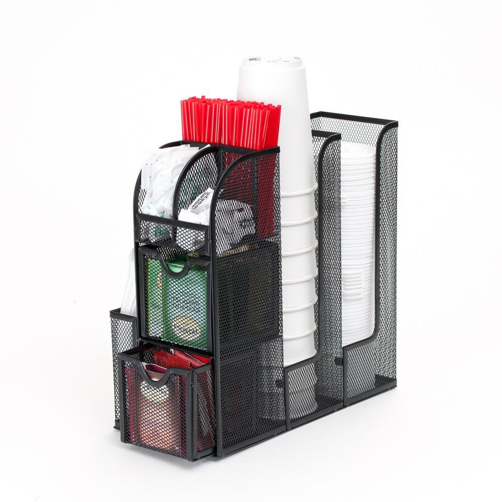 Black Metal Mesh Coffee Condiment Organizer with 2 Storage Drawers