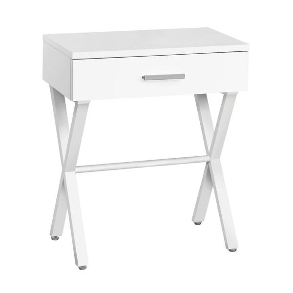 Jasmine 22.25 in. White Metal Accent Table