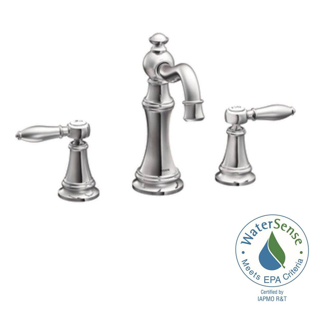 Moen Weymouth 8 In Widespread 2 Handle High Arc Bathroom Faucet Trim Kit In Chrome Valve Not