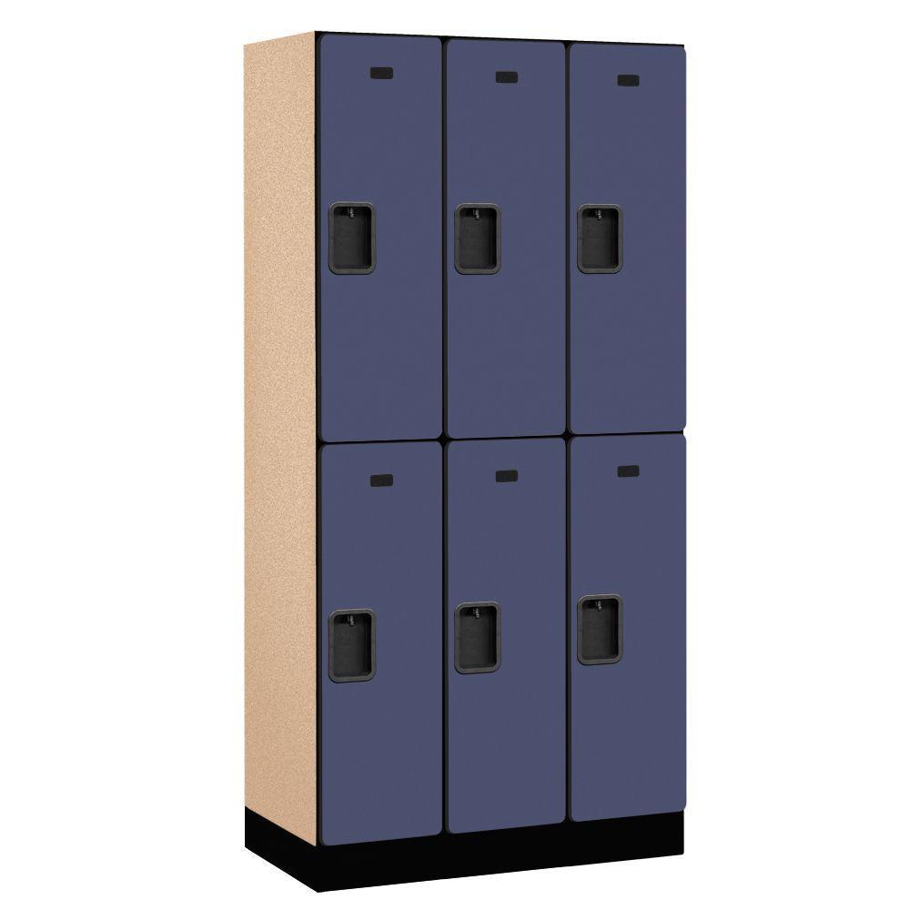 32000 Series 36 in. W x 76 in. H x 18 in. D 2-Tier Designer Wood Locker in Blue