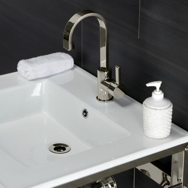 Kingston Brass 25 In Ceramic Console Sink 1 Hole With Stainless Steel Base In Polished Nickel Hvwp2522a6 The Home Depot