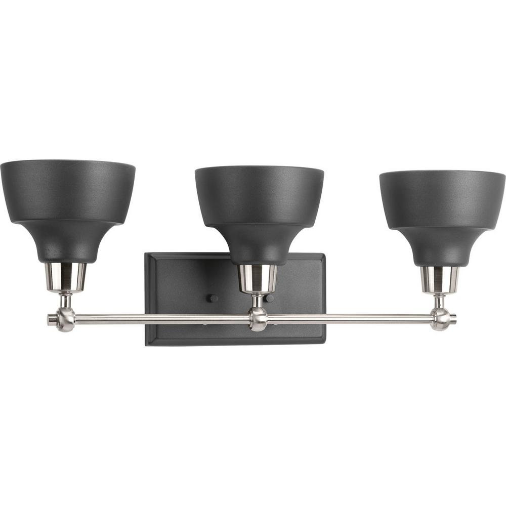 Bramlett Collection 3-Light Brushed Nickel Bathroom Vanity Light with Matte Black Shades
