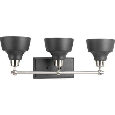 Bramlett Collection 3-Light Brushed Nickel Vanity Light with Matte Black Shades
