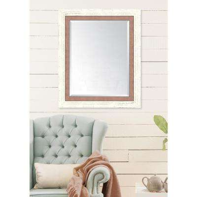 30 in. x 36 in. Framed French White Large and Autumn Spice Mirror