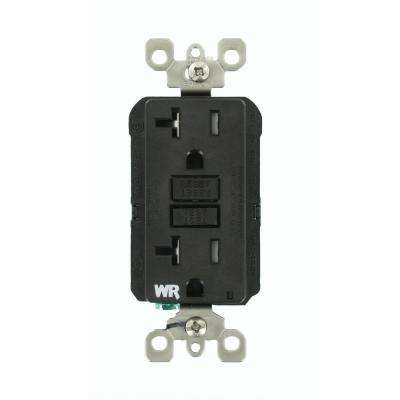 20 Amp SmartlockPro Weather/Tamper Resistant GFCI Outlet, Black