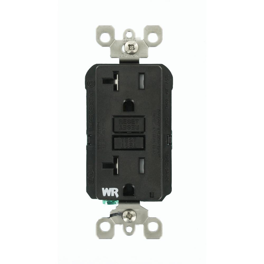 20 Amp SmartlockPro Weather/Tamper Resistant GFCI Outlet, Black
