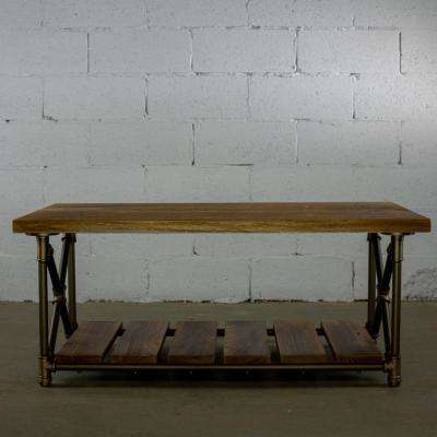Brushed Brass Industrial Pipe 46 in. 2-Tier Coffee Table with Reclaimed-Aged Wood