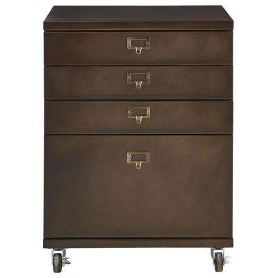 Becker 4-Drawer Antiqued Bronze Metal Cart