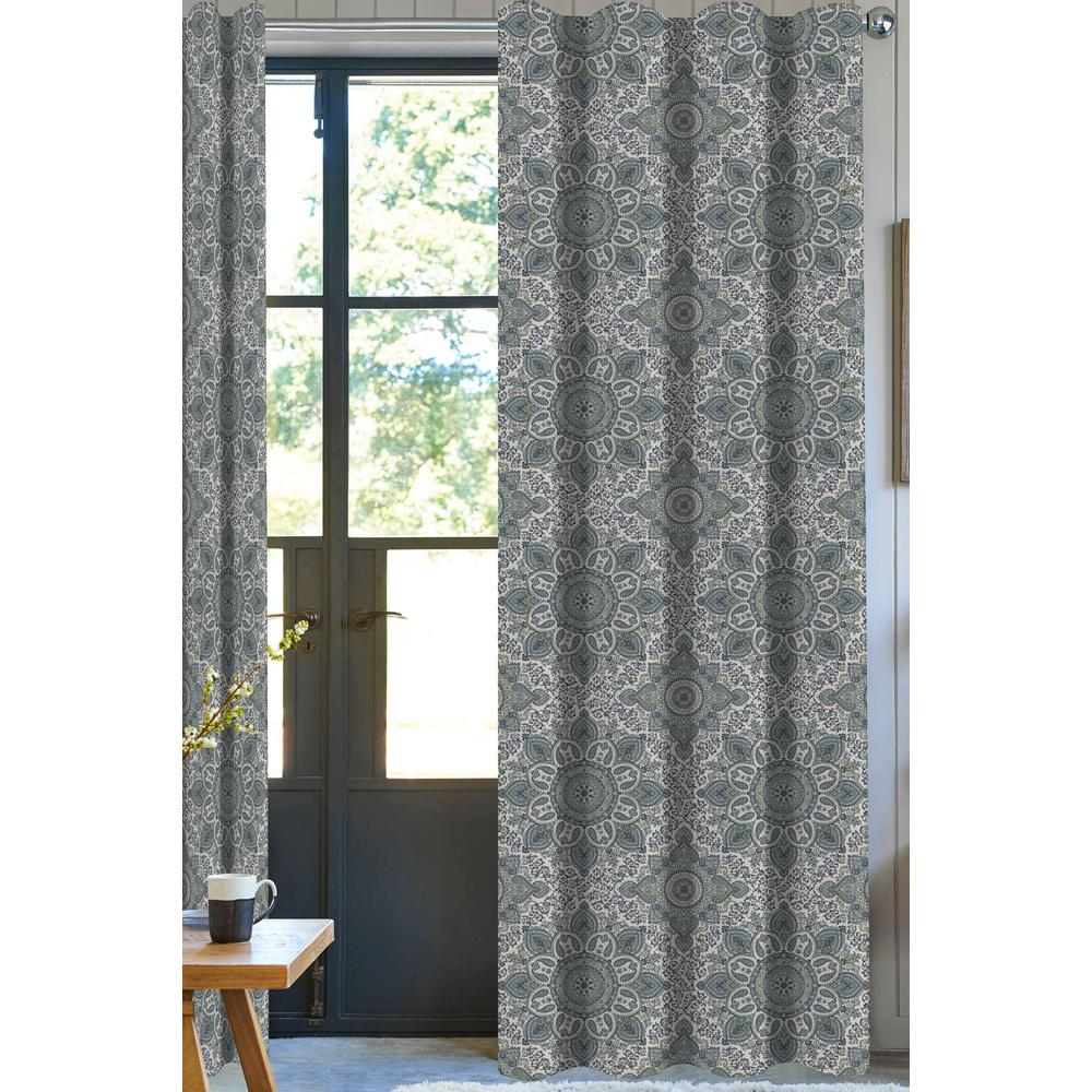 A1 Home Collections Nolan Paisley Designer Organic Cotton Drapery in Green/White - 50 in. x 96 in.