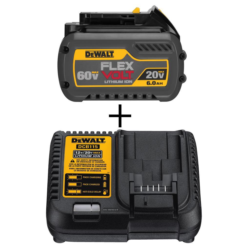 FLEXVOLT 20-Volt/60-Volt MAX Lithium-Ion Battery Pack and 12-Volt to 20-Volt Lithium-Ion Battery Charger